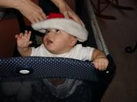 Nathan rejecting a Santa hat